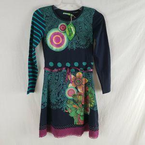 Desigual Girls NEW Retro Dress Floral Organic